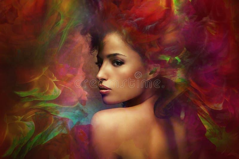 Fantasy woman sensation. Fantasy colorful beautiful young woman portrait, composite photo stock photo