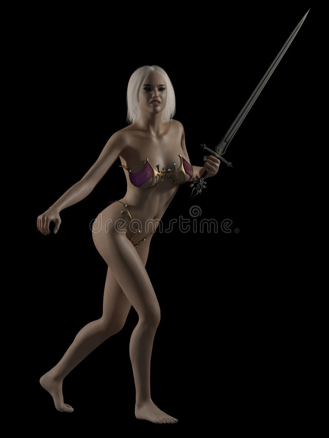 Download Fantasy Woman with Sword stock illustration. Illustration of gold - 23262093