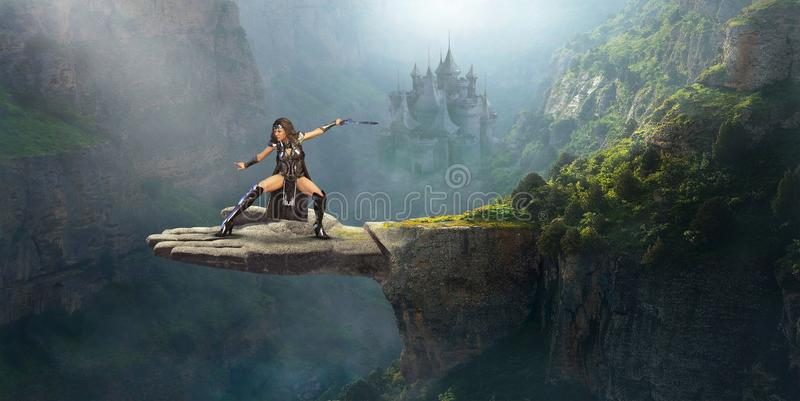 Fantasy Woman Warrior, Science Fiction. Surreal fantasy landscape with a warrior soldier woman ready for battle. In the background is an ancient medieval stone vector illustration