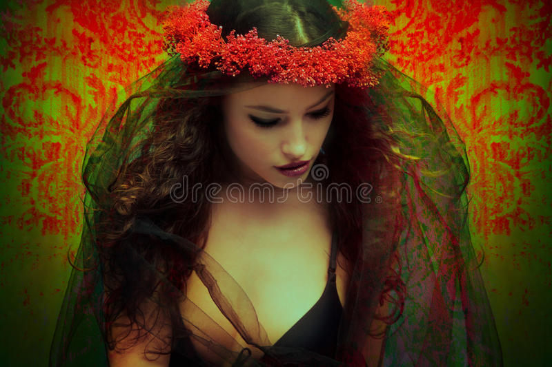 Fantasy woman with wreath of flowers. Fantasy woman with a veil and wreath of flowers, photo compilation stock photo