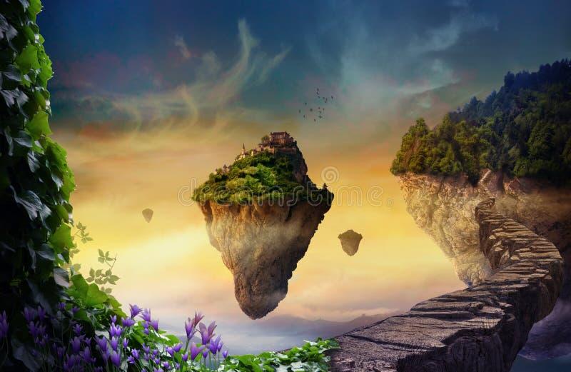 Fantasy world with floating islands vector illustration
