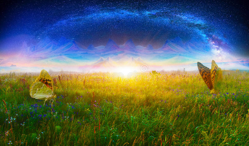 Fantasy world. Fantasy landscape with milky way and butterflies royalty free stock image