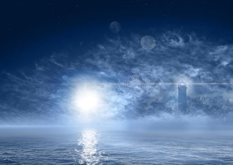 Fantasy world night sea landscape. Fantasy world with foggy ocean and ghostly lighthouse stock illustration