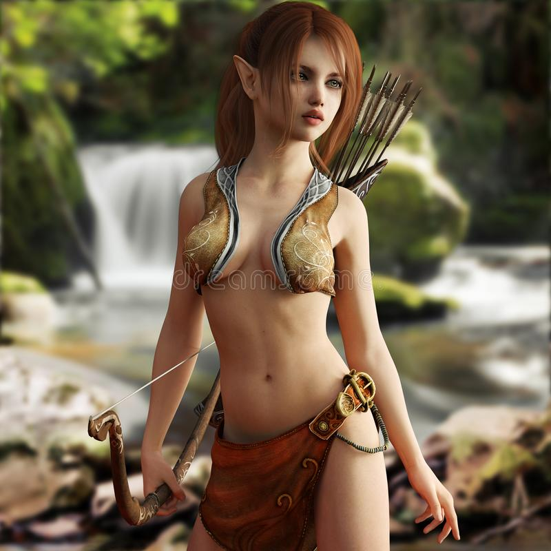 Fantasy young red headed wood elf posing within her mythical forest. stock images