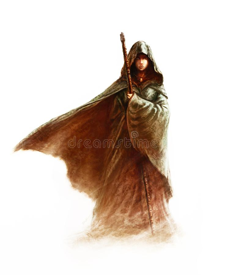 Fantasy young witch - beautiful woman with cloak and hood holding a magic staff. On white background painting vector illustration