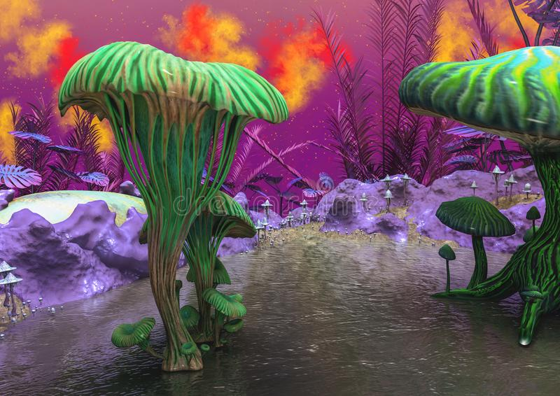Download Fantasyland Con Un Lago, Funghi E Piante Ed Uova Di Weirds Illustrazione di Stock - Illustrazione di pianta, fantasia: 117979662