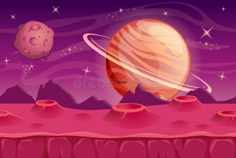 Fantazi astronautyczny tło dla UI gry obcy tło krajobrazu royalty ilustracja