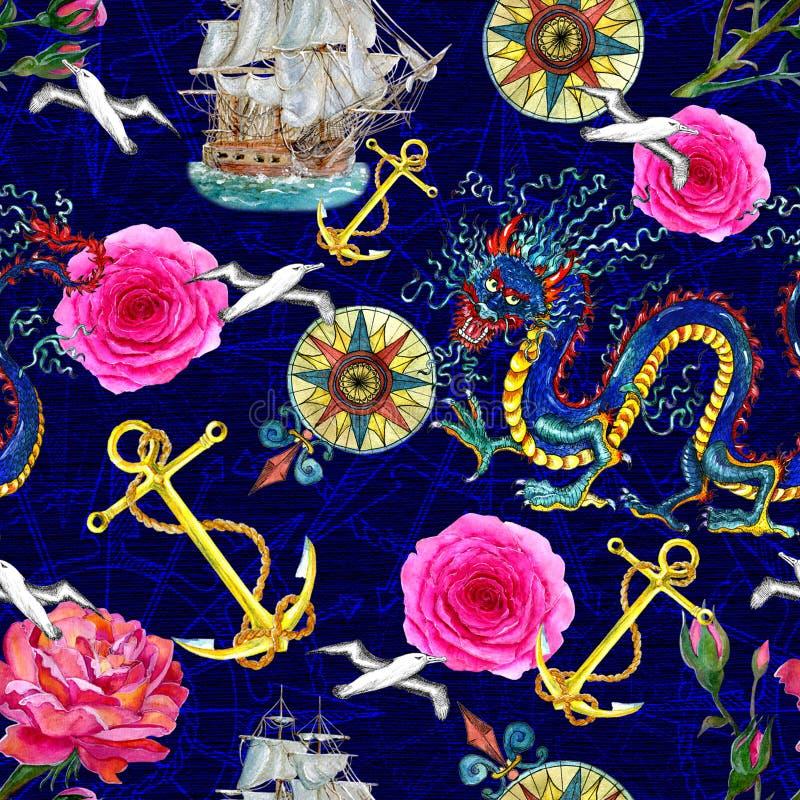 Fantazi bezszwowy tło z smokiem, różami i morze emblematami, royalty ilustracja