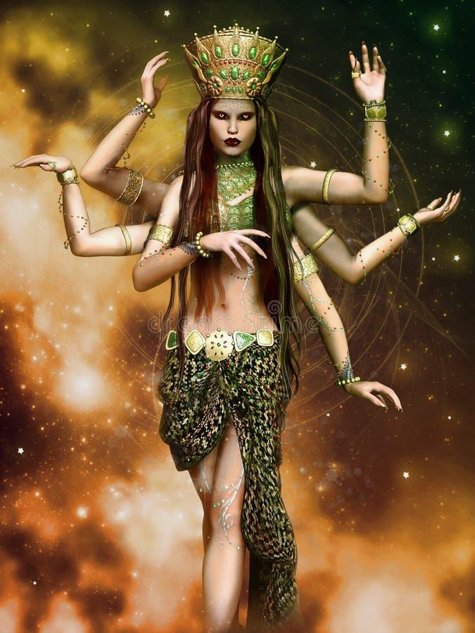 Fantazi bogini z sześć rękami royalty ilustracja
