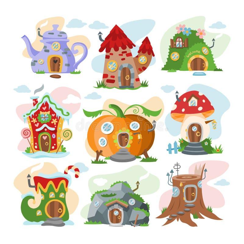 Fantazi domowej wektorowej kreskówki domek na drzewie i magii wioski czarodziejski lokalowy ilustracyjny ustawiający dzieciak baj ilustracji