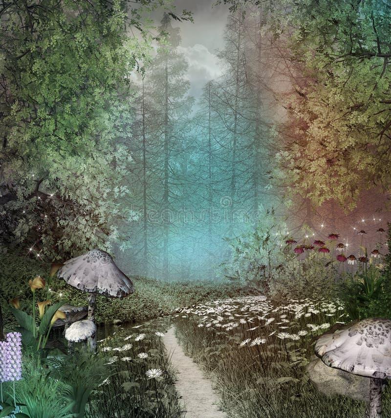Fantazi droga przemian w zaczarowanym kolorowym lesie ilustracja wektor