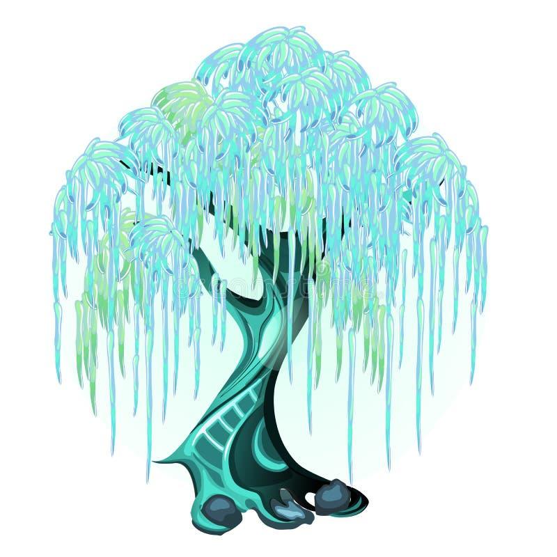 Fantazi drzewo z rozjarzonymi neonowymi liśćmi odizolowywającymi na białym tle Wektorowa kreskówki zakończenia ilustracja ilustracja wektor