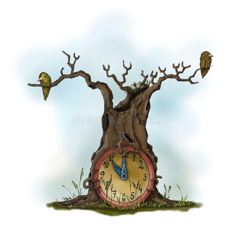 Fantazi drzewo z zegarem royalty ilustracja