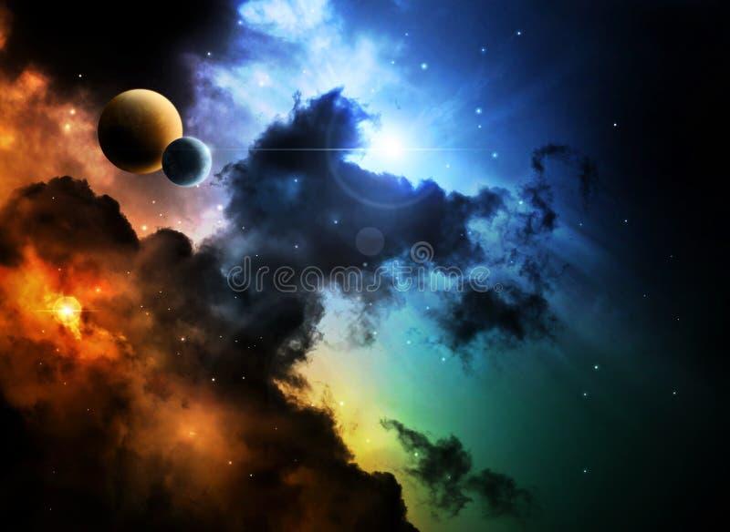 Fantazi głębokiej przestrzeni mgławica z planetą royalty ilustracja