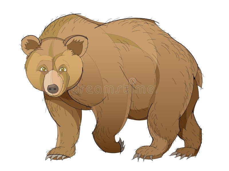 Fantazi ilustracja śliczny brown niedźwiedź na białym tle Pociągany ręcznie wektorowy wizerunek royalty ilustracja