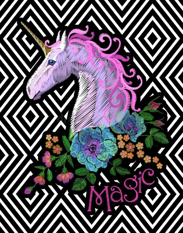 Fantazi jednorożec łaty hafciarski majcher Różowa fiołkowa grzywa wzrastał na geometrycznym lampasie koński kwiat układa maczka ilustracji