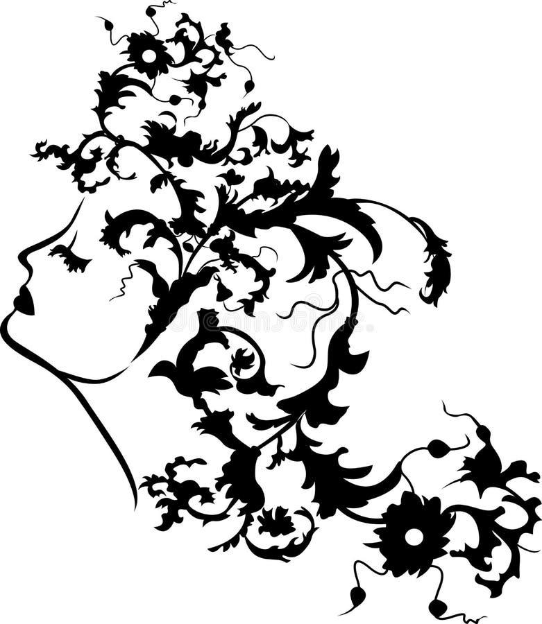 Fantazi kobiety kwiecista twarz royalty ilustracja