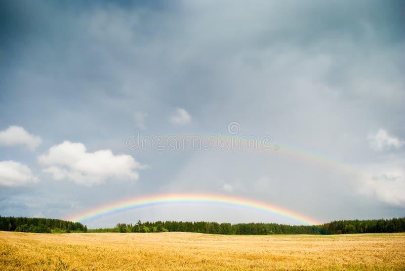 Fantazi krajobrazowy tło Tęcza krajobraz na kolorowym tle zdjęcie stock