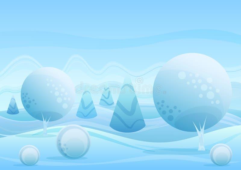Fantazi kreskówki zimy krajobrazu zadziwiający tło Modna fradient płaska kolorów bożych narodzeń wektoru ilustracja royalty ilustracja
