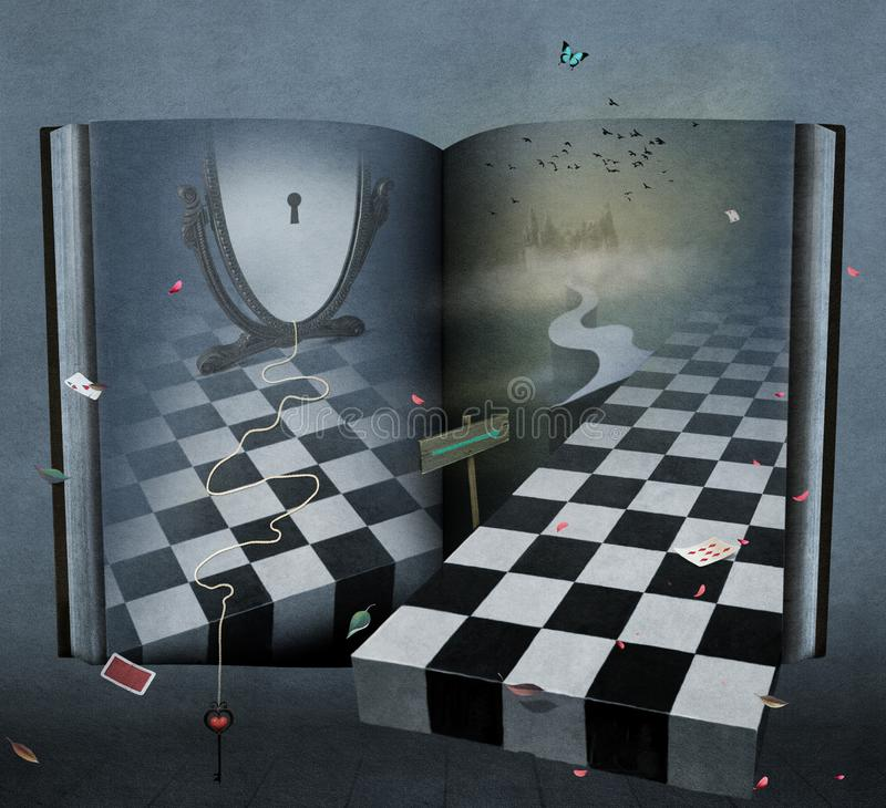 Fantazi książkowa kraina cudów ilustracji