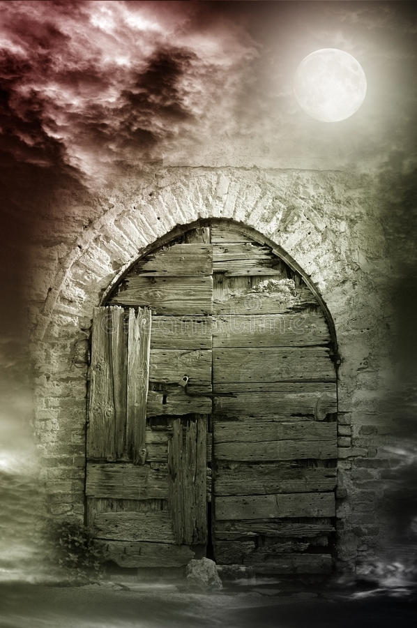 Fantazi nocy drzwi fotografia stock