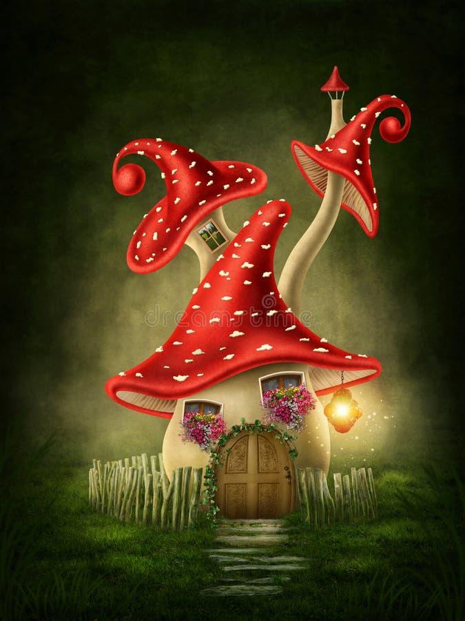 Fantazi pieczarki dom royalty ilustracja