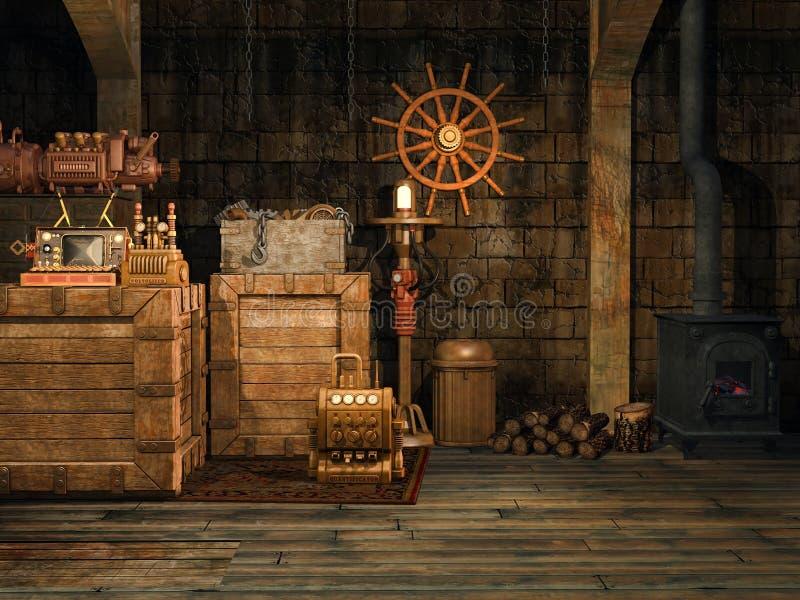 Fantazi piwnica z starą kuchenką ilustracji