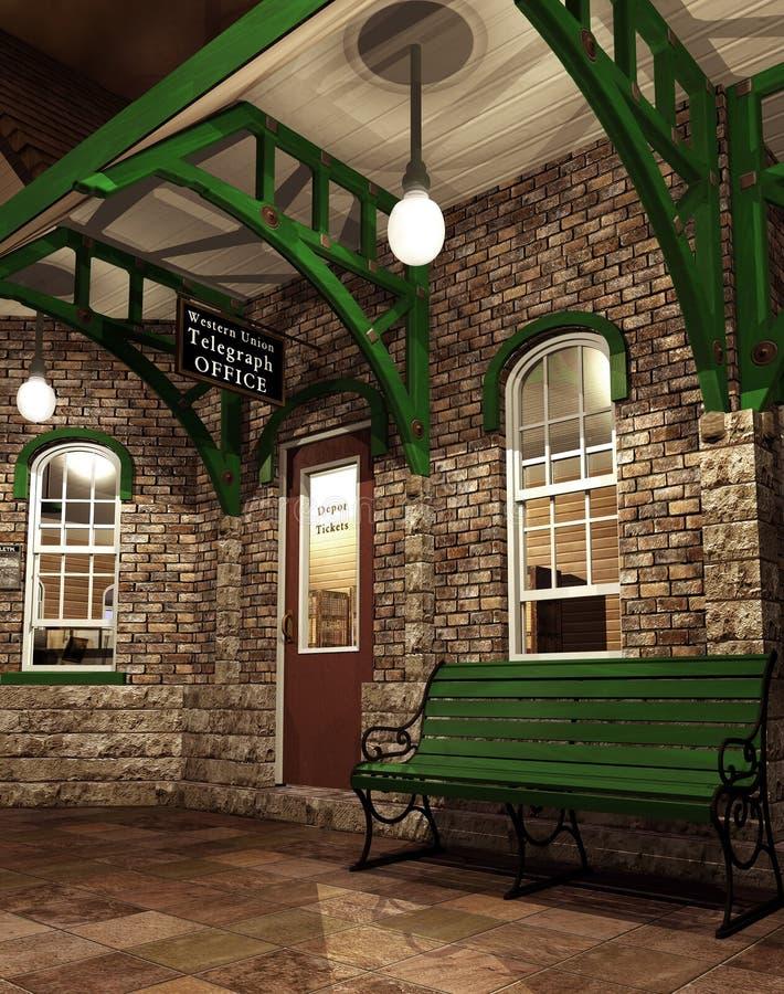 Fantazi stacja kolejowa royalty ilustracja