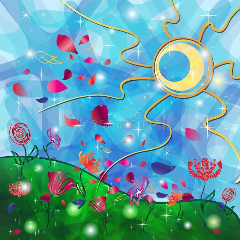 Fantazi tło z Plemiennym słońcem i kwiatami royalty ilustracja