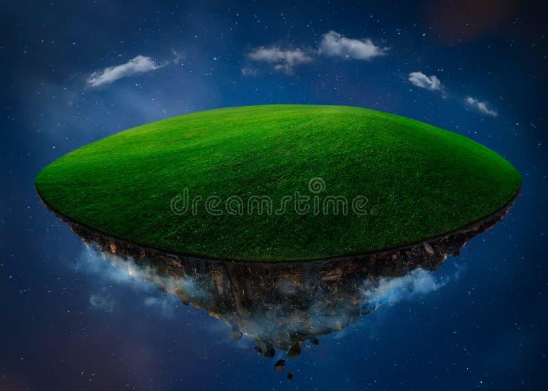Fantazi wyspa unosi się w powietrzu z zieleni polem royalty ilustracja