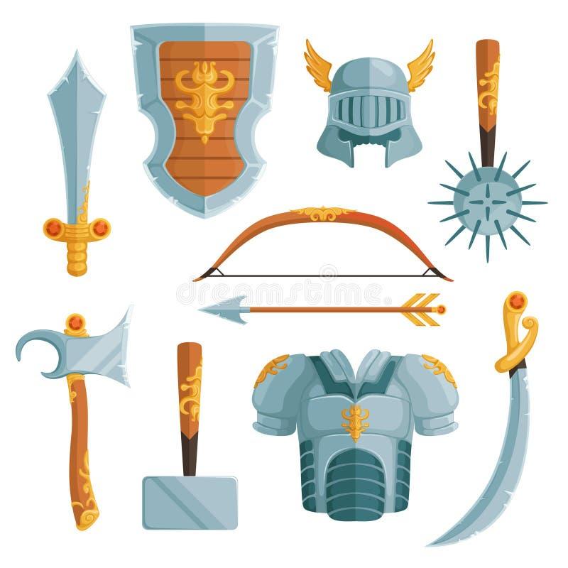 Fantazj bronie w kreskówka stylu Wektorowe ilustracje ustawiać ilustracja wektor