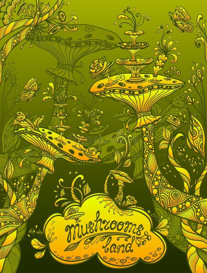 Fantazj ilustracyjne pieczarki lądują w Zen doodle stylu zieleni pomarańczowym kolorze żółtym royalty ilustracja