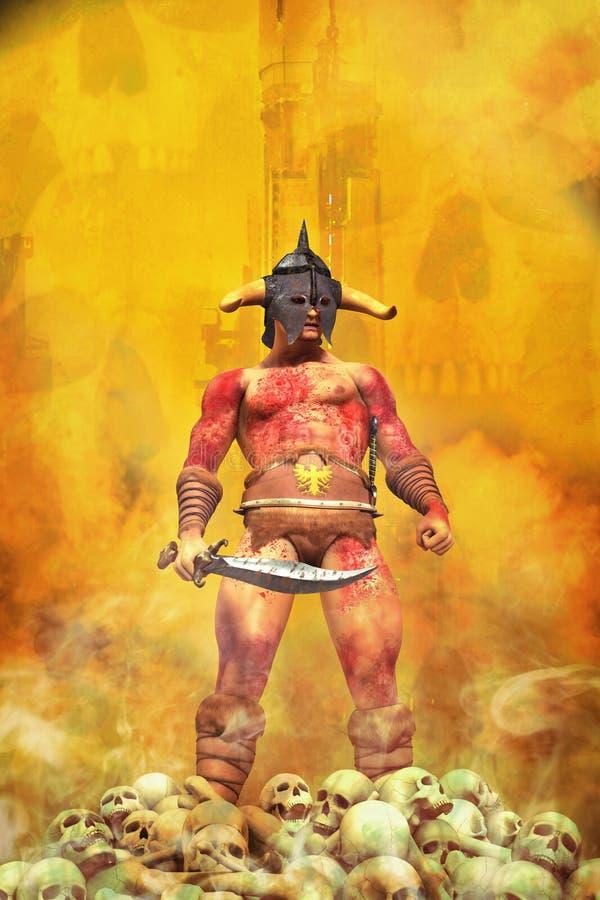 Fantazja barbarzyńcy wojownik ilustracja wektor