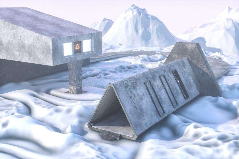 Fantazja betonowy tunelowy budynek, trójboka tunel ?wiadczenia 3 d ilustracja wektor
