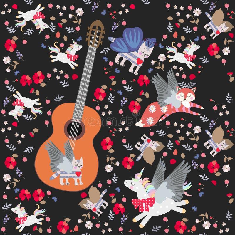 Fantazja bezszwowy wzór z dużą drewnianą gitarą i małymi magicznymi zwierzętami: oskrzydlony kot, Pegasus, lis, malutkie jagody i ilustracja wektor