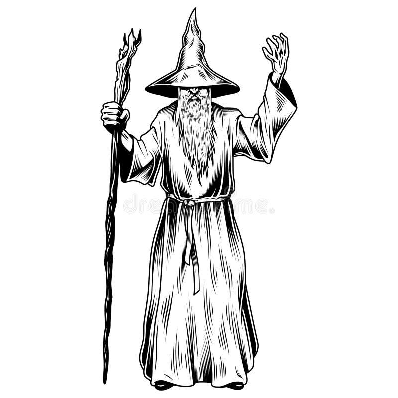 Fantazja czarownik odizolowywający na bielu ilustracji