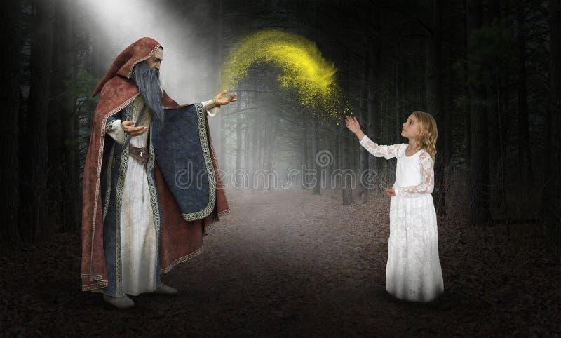 Fantazja czarownik, wyobraźnia, magia, dziewczyna zdjęcia stock