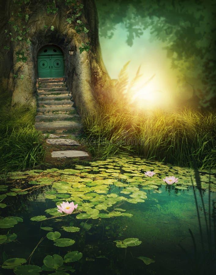 Fantazja drewniany dom zdjęcie royalty free