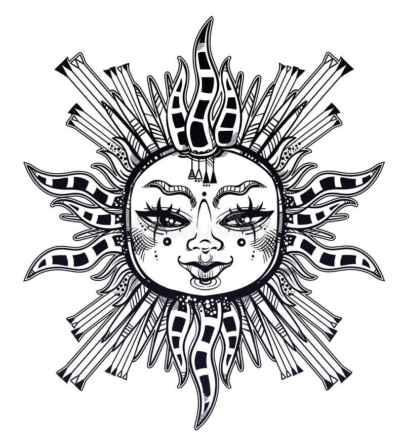 Fantazja inspirował plemienną słońce gwiazdę z twarzą ludzką Ornamentacyjna dekoracja, ludowy druk royalty ilustracja