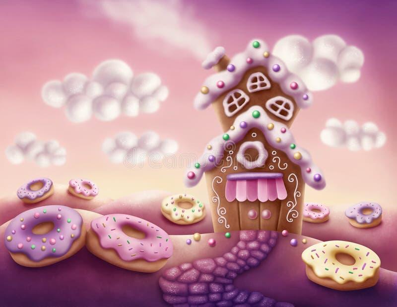 Fantazja kolorowi domy ilustracji