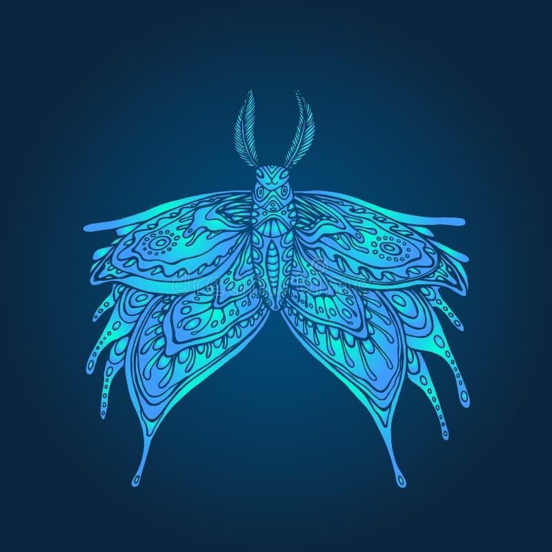 Fantazja koloru mistyczna motylia błękitna strona ilustracji