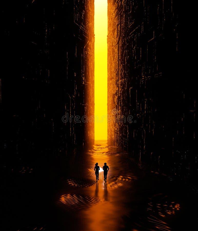 Fantazja krajobraz, szczelina, ciemność, światło, słońce, ludzie biega z pochodnią w ręce w nauki fikci krajobrazie, duży jaskraw ilustracja wektor