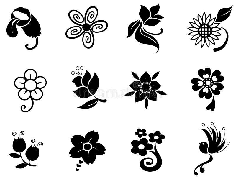 Fantazja kwiatu sylwetki sylwetki kolekci se royalty ilustracja