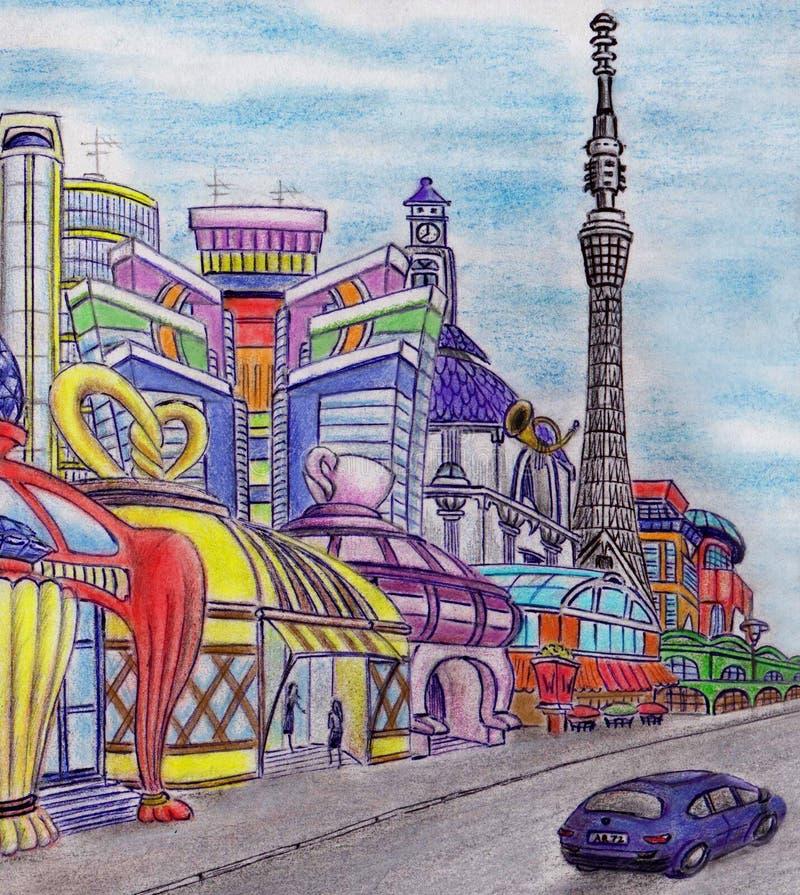 Fantazja na mieście przyszłość Autora ` s praca Koloru ołówek, pióro ilustracji