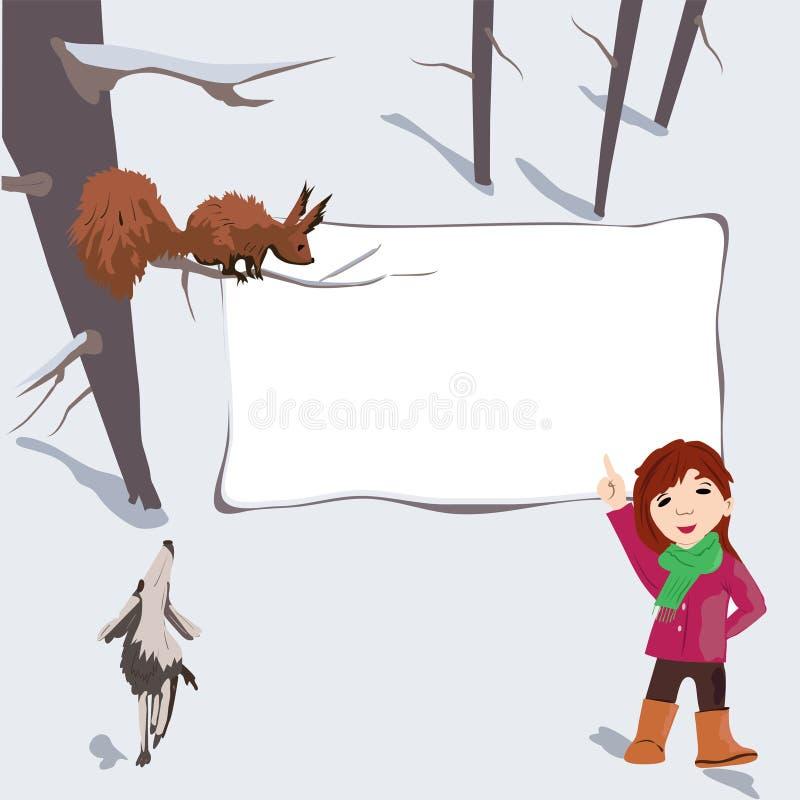 Fantazja, niezwykła rama dla inskrypci z dziewczyną i zwierzęta, ilustracji