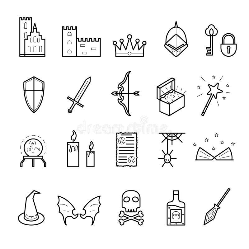 Fantazja Odnosić sie znaka czerni ikony Cienki Kreskowy set wektor royalty ilustracja