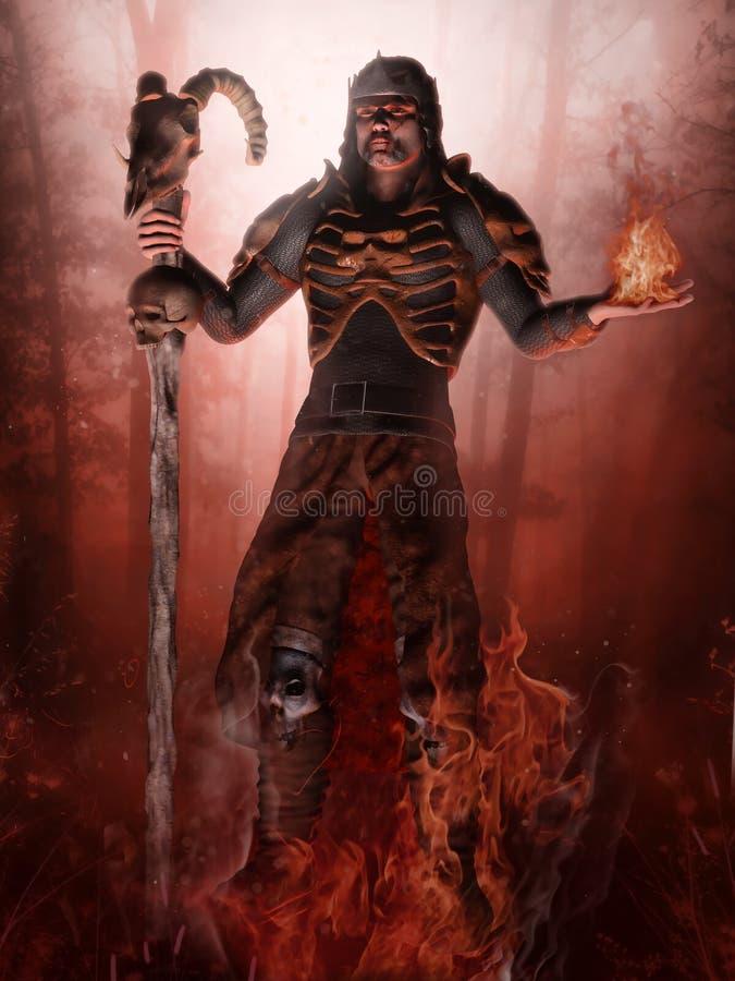 Fantazja płomienie i czarnoksiężnik royalty ilustracja