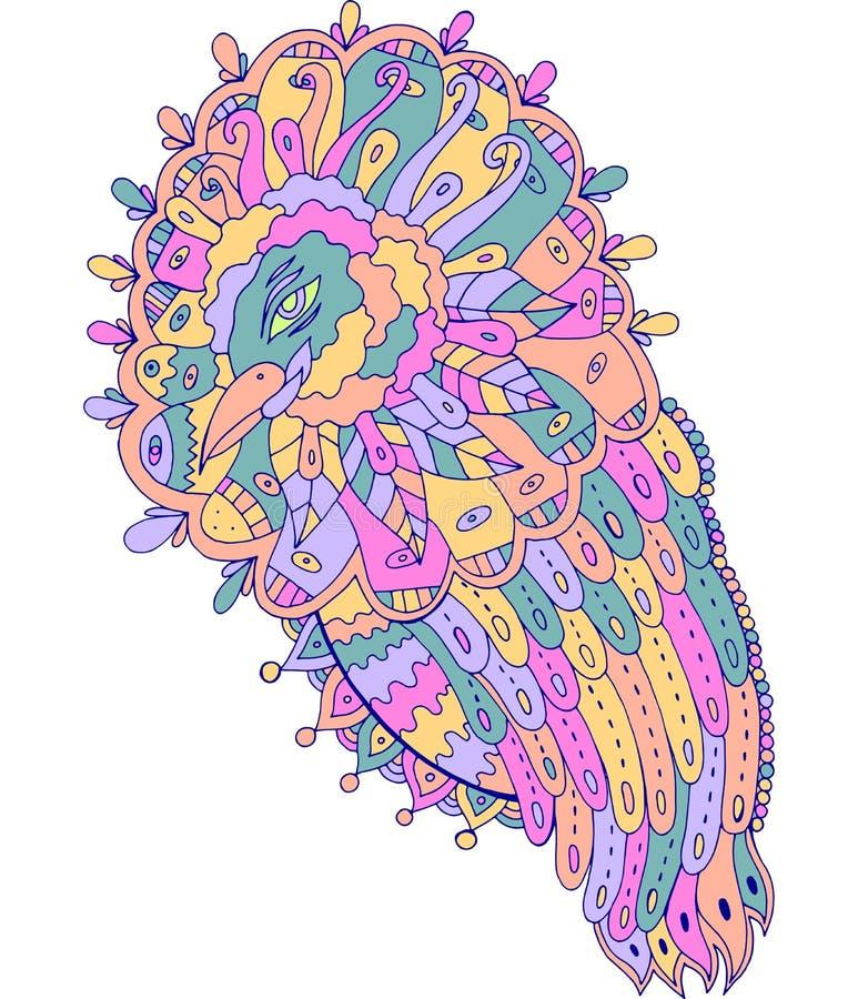 Fantazja plemienny surrealistyczny ptak Pastelowi jaskrawi kolory Kolorowa kreskowa grafika Fantastyczny atramentu rysunek r?wnie royalty ilustracja