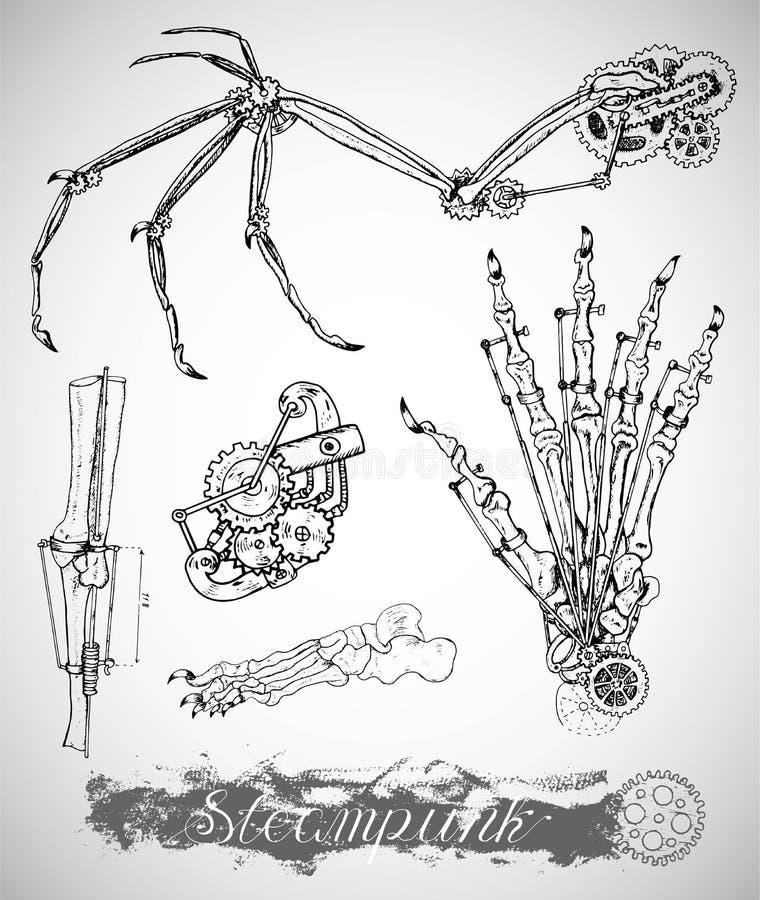 Fantazja potwora skrzydło, noga i ręka z rocznika mechanizmem w parowym ruchu punków, projektujemy ilustracji