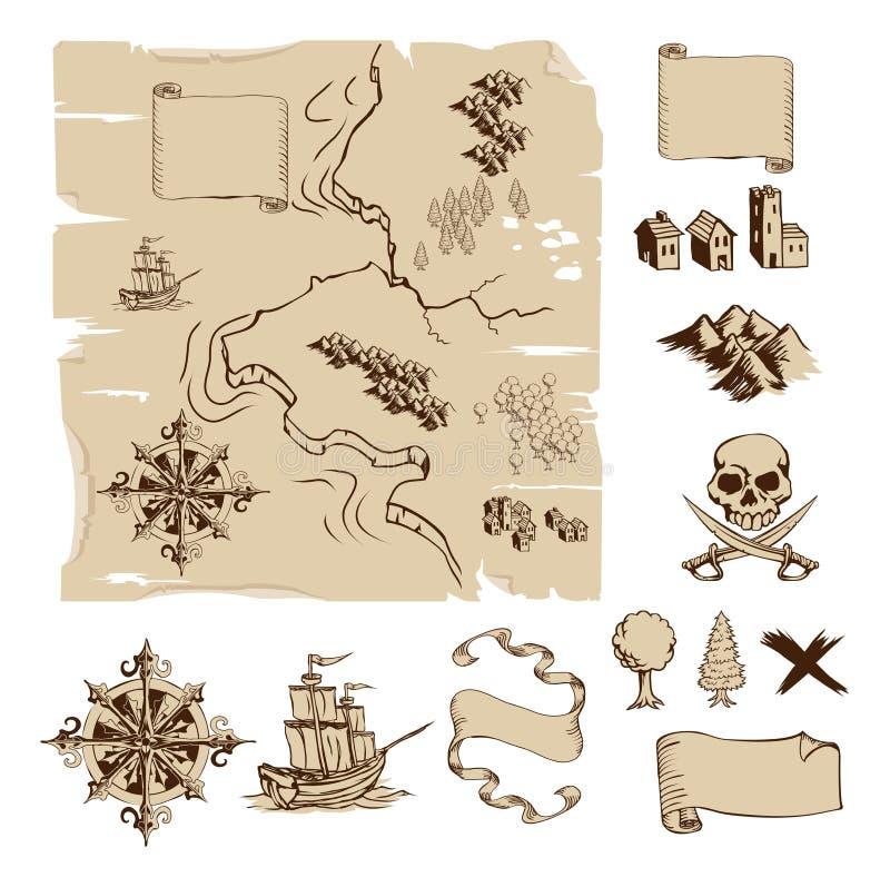 fantazja robi swój skarbowi mapom twój royalty ilustracja